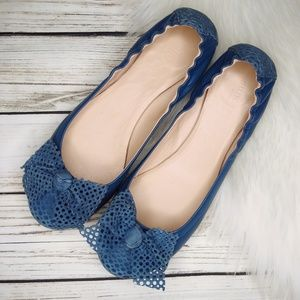 SUNDANCE PERSINETTE BLUE LEATHER BOW BALLET FLATS
